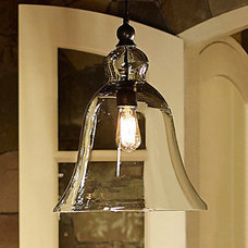 60W E27 Pendent Light with Bell Desgined Glass Shade - USD $ 149.99