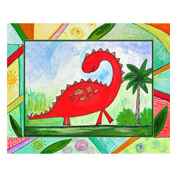 Oh How Cute Kids by Serena Bowman - Baby Dino Mytes - Stan, Ready To Hang Canvas Kid's Wall Decor, 8 X 10 - This silly, sweet picture is part of my Baby Dino Mytes dinosaurs series.