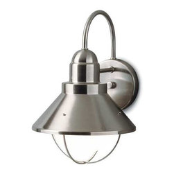 Kichler Lighting - Kichler Outdoor Nautical Wall Light in Brushed Nickel Finish - 9022NI - This outdoor wall light features a sleek nautical design and a brushed nickel finish over aluminum, making for an attractive and durable outdoor light source. A conical metal shade is suspended from the circular backplate and surrounds a single bulb. Takes (1) 100-watt incandescent G40 bulb(s). Bulb(s) sold separately. CSA listed. Wet location rated.