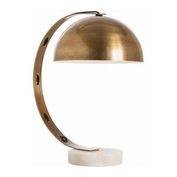 Arteriors Home - Arteriors Home Bond Vintage Brass/Snow Marble Desk Lamp - Arteriors Home 42326 - This is a swoosh that makes sense. The solid brass arm holds the perfect sphere of light for your task and the white marble base is a surprise element anchoring the entire piece.