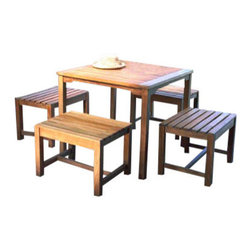 """Charleston Teak 4 Person Dining Set - This Charleston Teak Dining Set includes a 36"""" Square Teak Dining Table and 4 2' Long Backless Benches."""