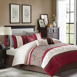 Home Essence - Home Essence Encanto 7 Piece Comforter Set - The Encanto bedding collection provides an elegant look to your home. The top of the comforter is a mix of rich red, chocolate brown, and ivory with piecing details while the brown section has an embroidered floral pattern in ivory. It is pieced with another simple ivory section with a red and orange floral motif. The reverse is a solid brown color. The set includes a solid brown bedskirt made from polyester brushed microfiber for easy care. The decorative pillows come in a combination of stripes and embroidery to pull this whole set together. Polyester jacq pieced solid microfiber with embroidery face, 75 gsm micro fiber solid back, 170gsm poly fill;Sham: 100% polyester jacq pieced solid microfiber with embroidery face, 75 gsm micro fiber solid back, envelop; Bedskirt: micro fiber drop and non woven platform; Pillow : 100% poly cover, 100% poly fill, Pillow case : printed 75gsm microfiber.