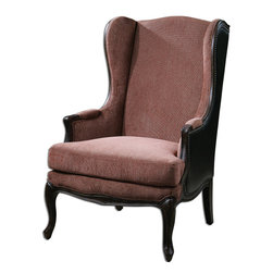 "Skipton Leather Wing Chair - Bench-made Construction In Solid Pine, Hand Carved And Ebony Stained, With Deep Copper Chenille Seating Area Surrounded By Black Faux Leather With Brass Nail Accents. Seat Height Is 18""."