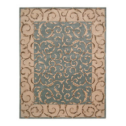 "Nourison - Nourison Versailles Palace VP43 9'6"" x 13'6"" Aqua Area Rug 43096 - A marvelous tapestry effect is presented in this lush, lovely rug with elegance, balance and charm. The unfurling leaves that grow across center ground and border lend a modern vitality to the classic Aubusson motif. Gorgeous in French aqua blue, bordered in parchment, and enriched by dimensional hand-carving."