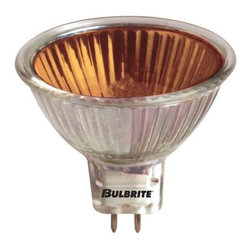 Bulbrite - Halogen Light Bulbs w Orange Shade - 10 Bulbs - One pack of 10 Bulbs. 12 V GU5.3 bi-pin base MR16 bulb type. Wide flood beam spread. Integrated colored cover glass. Lensed for UV protection. Ideal for residential and commercial applications. Most commonly used in art galleries, jewelry stores and salons. Perfect for landscape, pendants, down lights, recessed and track lighting applications. Dimmable. Average hours: 2000. Color rendering index: 100. Wattage: 50 watt. Lumens: 500 CP. Maximum overall length: 1.87 in.