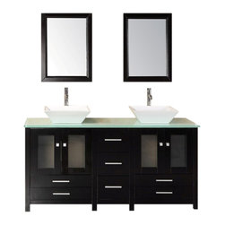 "Design Element - Arlington 61"" Double Sink Vanity Set in Espresso - Constructed of quality woods the white porcelain vessel sinks and tempered glass countertop of the  of the 61"" Arlington beautifully contrast the rich espresso cabinet to bring a crisp contemporary look to any bathroom. This stylish design includes two soft-closing double-door cabinets and four drawers. A matching detached espresso cabinet with three drawers is provided for additional storage. Included with this set are two matching espresso mirrors. The Arlington Bathroom Vanity is designed as a centerpiece to awe and inspire the eye without sacrificing quality functionality or durability."