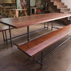 Iron Pipe Dining Table and Benches - We design beautiful, tailor-made furniture, and build it by hand to last forever.  Contact jr@saintarbor.com
