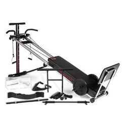 Bayou Fitness Total Trainer DLX-III Home Gym - Low-impact workout provided by smooth, ball bearing roller system11 incline resistance levels let you lift from 4 to 69% of your body weight; can also add free weights to power bar46L x 14W inches glide board with double-stitched, 2-inch thick box cushion3- and 4-point pulley system; dual side glide board pulleys for smooth operationIncludes 4 program cards, manual, and training DVDAttachments include pro ab crunch strap, pilates toe bar, bicep power flex, bicep curl press bar, and power bar for free weightsChrome pull-up/push-up bar, sit-up cuff strap, heavy-duty squat board, chrome independent twin handles, dual leg cuff assemblyStrong, durable steel construction with durable polished chrome finishArrives fully assembledFolds to a compact 20L x 14W x 50H inches for storage, with oversized castors for easy transportManufacturer's warranty included - see Product Guarantee for full detailsAbout First Degree FitnessFirst Degree Fitness was founded in 2000 on the firm belief that rowing should feel like, well, rowing. Their propriety fluid resistance systems offer the most advanced indoor rowing experience available, capturing the nuances of self-powered movement across the open water. A First Degree Fitness water-resistance machine even introduces the sensory experiences of seeing and hearing water as the user pulls. From innovations in variable resistance to integration of the most advanced technology and virtual experiences, First Degree Fitness is the go-to choice for the utmost in indoor rowing experiences.