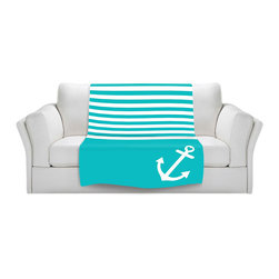 DiaNoche Designs - Fleece Throw Blanket by Organic Saturation - Teal Love Anchor Nautical - Original Artwork printed to an ultra soft fleece Blanket for a unique look and feel of your living room couch or bedroom space.  DiaNoche Designs uses images from artists all over the world to create Illuminated art, Canvas Art, Sheets, Pillows, Duvets, Blankets and many other items that you can print to.  Every purchase supports an artist!