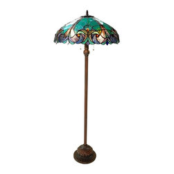 Victorian Floor Lamp - LIAISON' Tiffany-style Victorian 2 Light Floor Lamp 18' Shade. Liaison Victorian is handcrafted with pure stained glass, with gem tone, soft pedestals, as well as the Victorian motif. The warm color glow ofeethe stained glass will create warmth to your home. With this floor lamp you can make a soft romantic glow by using just the mid-section.