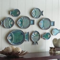 Malibu Fish Plates, Set of 9 - Add some playful coastal style to your tabletop or wall with this set of 9 pottery fish plates and platters.