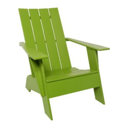 "Loll Designs - Adirondack 4 Slat Compact Chair by Loll Designs - The classic Adirondack design, shrunk down and made mostly out of recycled milk jugs. The Loll Designs Adirondack 4 Slat Compact Chair is made out of 100% recycled HDPE with hidden stainless steel fasteners and a convenient bottle opener under the right arm. Choose between a range of colors and either a flat or more traditionally curved back. Loll Designs creates ""outdoor furniture for the modern lollygagger."" Founded in 2003, Loll specializes in the use of recycled materials (primarily plastic milk jugs) to create their long-lasting, low-maintenance and, of course, super-stylish outdoor chairs, tables, benches and other outdoor furnishings. All Loll products are designed and made in Duluth, Minnesota."