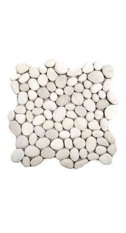 Glass Tile Oasis - White River Stone Pebbles & Stones White River Rock Tiles Tumbled Natural Stone - The beauty of natural stone pebbles, with the convenience of mesh-backed tile! These beautiful stones are available with a natural surface or with a glazed finish. Sheets are curved on all four sides, allowing them to fit together to produce a seamless surface area.