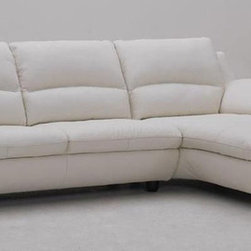Luxury Full Leather Sectional with Chaise - Color: white (can be ordered in different colors 6-8 weeks)