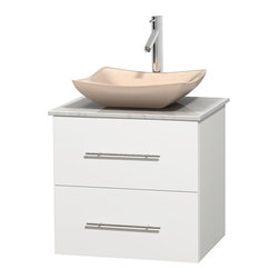 """Wyndham Collection - Centra 24"""" White Single Vanity, White Carrera Marble Top, Ivory Marble Sink - Simplicity and elegance combine in the perfect lines of the Centra vanity by the Wyndham Collection. If cutting-edge contemporary design is your style then the Centra vanity is for you - modern, chic and built to last a lifetime. Available with green glass, pure white man-made stone, ivory marble or white carrera marble counters, with stunning vessel or undermount sink(s) and matching mirror(s). Featuring soft close door hinges, drawer glides, and meticulously finished with brushed chrome hardware. The attention to detail on this beautiful vanity is second to none."""