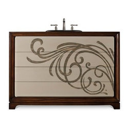 "Cole & Co. - Cole & Co. 48"" Designer Series Delaney Vanity Chest - Deep Cherry - Cole & Company combines great design with great flexibility, allowing you to mix and match size, finish, and style to create your own perfect bathroom vanity. The Delaney Vanity Chest is individually handmade of select poplar and Asian hardwood solids with cherry veneers and features a deep cherry finish accented with a crem?? front. It has finger pulls to access the drawers so the soft burnt umber hand-painted Asian swirl motif can take center stage.Cole & Co. has offered its famous Designer Series since 1998 and is among the most popular and well-known is the US. Featured is almost every major design and interiors magazine, each handcrafted furniture piece in the Designer Series has the back cut out by hand for plumbing and sink installation and door or drawers configured to retain usefulness and storage capabilities. Designer Series vanities come with the wooden tops as shown to replicate a fine piece of furniture much the same way fine antiques have been converted as vanities in this way for years. Each piece is thoughtfully configured for ease in plumbing installation.When purchasing Cole & Co. vanities, you will have peace of mind that you're choosing furnishings of enduring quality. Caring craftsmen pay attention to every detail such as: All drawers include wood-on-wood glides for smooth, efficient operation, and all touching drawer guide parts are waxed for smooth and quiet operation; Strength and durability are supplied by mortise and case construction reinforced with glue and metal fasteners; Solid lumber and select wood veneers are carefully chosen to permit consistent finishing as use of veneers enables more decorative looks unattainable with solid wood. Veneers, which are used only on flat surface areas such as the case tops and sides, also add weight, strength and dimensional stability; and lastly, Up to 30 finishing steps, including 13 steps of hand-sanding and accenting are used with physical distressing done by hand to insure an authentic, antique look. In addition, all items receive two to three full coats of catalyzed lacquer for extra depth and durability and a final top coat of nitrocellulose to help protect it from wear, water and light.Your Cole & Co. quality vanity is a significant investment expected to last for generations. To maintain its beauty and help it last, please refer to the Designer Series product information sheet and the Care & Cleaning FAQ. Each piece is handmade and finished and actual color may vary. Features: Completely hand madeSelect poplar and Asian hardwood solids with cherry veneersIt has finger pulls to access the drawers48""W x 19""D x 34""HFaucet(s) not includedSink(s) not included Ships with wooden topPlease confirm sink measurements will work prior to ordering. Cole & Co. can custom cut your vanity for countertops and faucets. Please contact us for details.No assembly required How to handle your counter"
