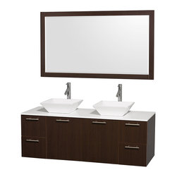 Wyndham Collection - Bathroom Vanity Set with White Porcelain Sinks - Includes mirror, sink, drain assemblies and P-traps for easy assembly. Faucets not included. White man made stone top. Two functional doors. Four functional drawers. Plenty of storage space. Metal exterior hardware with brushed chrome finish. Single-hole faucet mount. Eight stage preparation, veneering and finishing process. Highly water-resistant low V.O.C. sealed finish. Unique and striking contemporary design. Modern wall-mount design. Deep doweled drawers. Fully extending soft-close drawer slides. Engineered for durability and to prevent warping and last a lifetime. Made from veneers and highest quality grade E1 MDF. Espresso finish. Mirror: 58 in. W x 33 in. H. Vanity: 60 in. L x 22.25 in. W x 21.25 in. H. Care Instructions. Assembly Instructions - Vanity. Assembly Instructions - MirrorModern clean lines and a truly elegant design aesthetic meet affordability in the Wyndham Collection. The attention to detail on this elegant contemporary vanity is unrivalled.