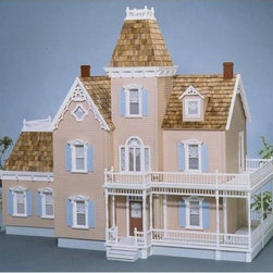 Real Good Toys Woodstock Dollhouse Kit - 1 Inch Scale - With a 2-story wraparound porch and delicate trimmings, the Real Good Toys Woodstock Dollhouse Kit - 1-Inch Scale lends itself beautifully to gallant social settings. With a total of 15 modest rooms and an impressive 9.438-inch floor-to-ceiling height, it's the perfect gathering place for your figurines. Durable gingerbread trim measuring 0.125 inches thick further enhances this old-fashioned, unfurnished Victorian structure. It will take approximately 30 to 40 hours to assemble and finish.This traditional 3-story house is available in two different durable construction options. Choose between milled plywood and MDF wall finishes. The decorative porch and other exceptional details reflect the uncompromising craftsmanship that went into the creation of this model, adding fanciful form to an already handsome design. It features pre-assembled windows and doors, moveable room dividers, wooden shingles, and sturdy 0.375-inch exterior walls. Recommended supplies include a hammer, glue, masking tape, sandpaper, paint, brushes, ruler, and brads. This exquisite kit is suitable for use by collectors. As it includes small pieces, it's not recommended for children under the age of 3.About Real Good ToysBased in Barre, Vt., Real Good Toys has been handcrafting miniature homes since 1973. By designing and engineering the world's best and easiest to assemble miniature homes, Real Good Toys makes dreams come true. Their commitment to exceptional detail, the highest level of quality, and ease of assembly make them one of the most recommended names in dollhouses. Real Good dollhouses make priceless gifts to pass on to your children and your children's children for years to come.