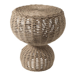 Studio A - Rope Stool / Table - Sturdy iron framework completely hand-wrapped with rope detail. Useful as a stool or side table.