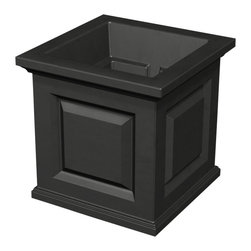 "Mayne Inc. - Nantucket 16x16 Planter, Black - Have the look of wood without the upkeep with our high-grade polyethylene planters. Long-lasting beauty, durability and quality.  Built-in water reservoir encourages healthy plant growth by allowing plants to practically water themselves. This is the perfect compliment to our Nantucket Tall planter and window boxes. Create a designer look that will add plenty of style and charm to your home. Our molded plastic planters are made from high-grade polyethylene with built in UV inhibitors. Double wall design featuring a sub-irrigation water system which encourages root growth. Inside dimensions are 11.9""L x 11.9""W x 11""D, outer dimensions are 16""W x 16""D x 16""H. Soil capacity is approximately 5 gallons (19 litres), water capacity is approximately is 3.7 gallons (14 litres)."