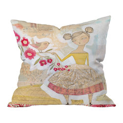 DENY Designs - Cori Dantini The Secret To Happiness Throw Pillow, 20x20x6 - This charming print recalls an illustration from a bygone children's book, faded with time yet still beloved. Let it add a whimsical touch to your favorite cozy nook.