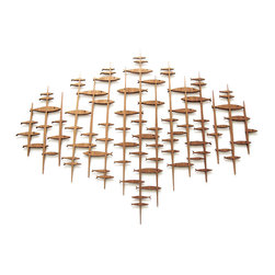 """Frederick Arndt Artworks LLC - Large Mid Century Modern Fish Sculpture - This wonderful, original artwork consists of a 5-piece """"School Days"""" fretwork collage of solid striped mahogany hardwood, measuring 36"""" high x 48"""" wide x 1/2"""" thick. The completed artwork comes with a wall hanging bracket attached to each piece. It will be clear coated to ensure a long lasting quality finish. This item is made-to-order, and as such, it is subject to lead times of 4-7 weeks."""