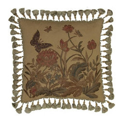 """EuroLux Home - New Hand-Embroidered Throw Pillow 20""""x20"""" - Product Details"""