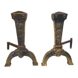 Consigned Antique Copper & Brass Andirons - There is both brass and copper in these amazing antique andirons. The rich, colorful patina of these hand made andirons shows their age, which we believe dates back to the early 1910s -early 20s. They exhibit a classic Arts and Crafts shape and style, as well as quality craftsmanship. They are in excellent condition with an adjustible hinge on each that moves with ease.