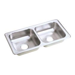"Elkay - Elkay Dayton 33 x 17 Double Bowl Top Mount Sink with Zero Holes (D233170) - Elkay D233170 Dayton 33"" x 17"" Double Bowl Top Mount Sink with Zero Holes, Stainless Steel"