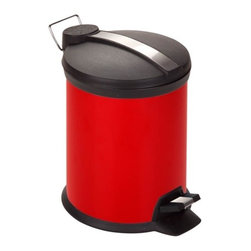 3L Step Trash Can, Red - Honey-Can-Do TRS-02228 2-Tone Steel Step Trash Can, Red.  A contemporary and colorful addition to any room, this 3L trash can is the perfect size for a dorm room, bathroom, or home office. The sturdy construction and robust design stand up to daily use. A steel foot pedal provides hands-free operation to keep germs at bay. A plastic inner trash bucket is fully removable for easy emptying and cleaning. The bright red, hand print resistant exterior is easy to clean and features a metal fold down carrying handle.