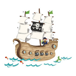 York Wallcoverings - Pirates Treasure Hunt Ship Wall Accent Self-Stick Decals - FEATURES: