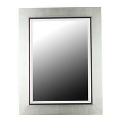 """Kenroy Home - Kenroy Home 60039 Silver Dolores 38"""" Contemporary Wall Mirror from the - 38"""" Contemporary Wall Mirror from the Dolores CollectionKenroy Home offers the finest in decor, performance, and value.  Their chandeliers, ceiling lighting and indoor and outdoor wall lighting capture the essence of lighting technology, and combine it with styling points of view ranging from classical and traditional, to contemporary and casual.  Kenroy lamps and portable lighting utilize a wide variety of materials, and create artistic elements that complement your home furnishings as well as make their own statements.  Particular care is paid to hand applied polishing and painting, matched with the finest in glass and shade treatments.  Fountains are the latest Kenroy Home category entry, and are designed and crafted to blend with various interior and exterior decors. They add soothing movement and the gentle sounds of falling water to unique artistry created in real and simulated stone, metal and ceramics.Simple elegant, the broad Silver matte frame contrasts wit the polished mirror in a timeless design.Can Be Mounted Vertically or HorizontallyMirror Size:  31"""" Height, 22"""" Width, 1.25"""" Bevel38 Inch Height, 30 Inch Width"""