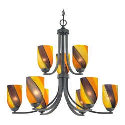 Design Classics Lighting - Modern Chandelier with Art Glass in Matte Black Finish - 586-07 GL1015D - Contemporary / modern matte black 9-light chandelier. Takes (9) 100-watt incandescent A19 bulb(s). Bulb(s) sold separately. UL listed. Dry location rated.