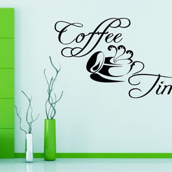 StickONmania - Coffee Time Sticker - An interesting quote with stylish lettering for your wall. Decorate your home with original vinyl decals made to order in our shop located in the USA. We only use the best equipment and materials to guarantee the everlasting quality of each vinyl sticker. Our original wall art design stickers are easy to apply on most flat surfaces, including slightly textured walls, windows, mirrors, or any smooth surface. Some wall decals may come in multiple pieces due to the size of the design, different sizes of most of our vinyl stickers are available, please message us for a quote. Interior wall decor stickers come with a MATTE finish that is easier to remove from painted surfaces but Exterior stickers for cars,  bathrooms and refrigerators come with a stickier GLOSSY finish that can also be used for exterior purposes. We DO NOT recommend using glossy finish stickers on walls. All of our Vinyl wall decals are removable but not re-positionable, simply peel and stick, no glue or chemicals needed. Our decals always come with instructions and if you order from Houzz we will always add a small thank you gift.