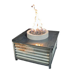 Impact Imports USA, Inc. - Steel + Stone Fire Table with Round Lava Fire Pit - Our Steel + Stone Fire Tables offer an industrial-modern design and are built to last a lifetime!  These limited edition Fire Tables are constructed with a heavy gage tube steel frame, a steel plate table top and reclaimed heavy gage corrugated metal sides, our Fire Tables will handle the toughest outdoor living conditions while offering you and your family and friends plenty of warmth on chilly evenings.
