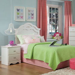 Standard Furniture - Standard Furniture Daphne 2 Piece Headboard Bedroom Set in White - Daphne's soft white finish  curvy feminine shapes and delicate floral ornaments makes this charming Victorian cottage group perfect for every little girl's dream room.