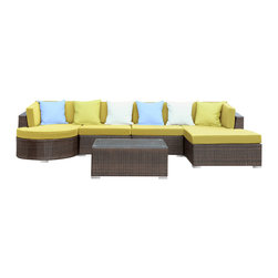 East End Imports - Montana 5-Piece Sectional Set in Brown Peridot - Nestled among the expanse of the Rocky Mountains lies a land of big skies and even bigger dreams. With its assorted pieces to fit every seating position, the Montana set is symbolic of the treasured nature of its namesake. While Montana is termed Big Sky Country and the Land of the Shining Mountains, the set itself is the stuff dreams are made of. Montana is comprised of UV resistant rattan, a powder-coated aluminum frame and all-weather cushions. The set is perfect for cafes, restaurants, patios, pool areas, hotels, resorts and other outdoor spaces.