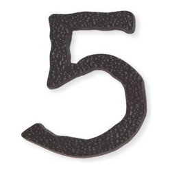 Atlas - Long Jagged Hammered House Number 5 - HN5L-O - Color: Aged BronzeManufacturer SKU: HN5L-O. Projection: 0.25 in.. Made from metal. 5.5 in. L x 4.3 in. W