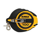 """Stanley Tools - Dwht34036 100 Ft. Tape Measure - Dewalt STEEL LONG TAPE  Features 5:1 gear ratio for 5 times -  faster blade rewind  Blade release button for easy blade pull out  Spring loaded carabineer attachment makes  for easy transportation  Rust-resistant coating prolongs blade life  Dirt removal window to empty dust particles -  from inside tool    DWHT34036 100 FT. TAPE MEASURE  SIZE:3/8"""" x 100 Ft."""
