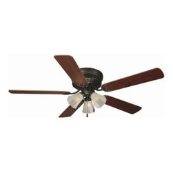 Design House - Indoor Ceiling Fans: Design House Millbridge 52 in. Oil Rubbed Bronze Ceiling Hu - Shop for Lighting & Fans at The Home Depot. The 52 in. Millbridge Hugger Collection of fans is transitional styling available in multiple finishes and styles. They are designed to be attractive and affordable. Hugger fans mount directly to the ceiling with no downrod. They feature a 3-speed pull chain control and reversible motor for comfort year round. It installs with or without the light kit. The oil rubbed bronze finish fan has five reversible blades, one side is a dark mahogany finish and the other side is a light maple finish. Year round comfort at an attractive price.