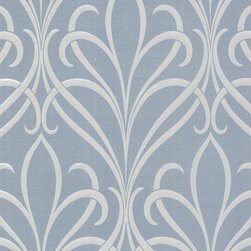 Decorline - Platinum (Decorline) Nouveau Damask Wallpaper, Bolt - Set your decor for a gatsby-esque glamour with this art nouveau wallpaper. A contemporary take on the elegance of the roaring 20s, with alluring silver swirls in a sophisticated damask arrangement. Each wallpaper bolt is 20.5 inches wide and 33 feet long, covering about 56 square feet. The pattern has a 25.2 inch repeat and a Drop match.