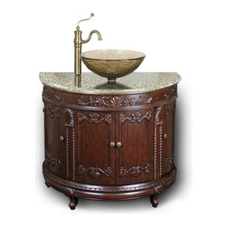 """JSG Oceana - JSG Oceana Semi-Circle Vanity in Espresso - Semi-Circle Vanity in Espresso belongs to  Collection by JSG Oceana The Semi-Circle vanity with vessel installation from JSG Oceana boasts a traditional style creating a timeless look of elegance.  Fully functional in design, this bathroom furniture piece offers you abundant concealed storage; all 4 doors on this cabinet open up to shelving creating a solution for all of your storage needs.  """"Euro"""" style hinges offer a soft-door close.  This vanity coordinates with a beige granite top and matching granite backsplash.  Pair it with a JSG Oceana top-mount vessel basin, and our matching mirror for a timeless look.    Vanity base measures withre & Wine Accessories/Wine Glasses6Kitchen & Dining  Vanity (1)"""
