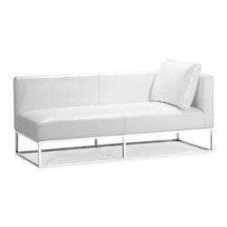Zuo Modern - Zuo Atom Bench in White w/ Right Arm Facing - Bench in White w/ Right Arm Facing belongs to Atom Collection by Zuo Modern Wrapped in rich bicast leather, the Atom is shiny bench with a bicast pillow and banded support seating and solid chrome steel legs. Bench (1)