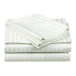 650 Thread Count Egyptian Cotton Olympic Queen Mint Stripe Sheet Set - 650 Thread Count Egyptian Cotton oversized Olympic Queen