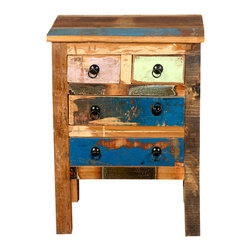 Sierra Living Concepts - Reclaimed Wood 4 Drawer Rustic Nightstand End Table Furniture - We combined authentically aged old wood, traditional old world craftsmanship, and modern design to create Grandpa's Attic bedside table and mini set of drawers. The multi-colored night stand is built with reclaimed wood from Gujarat.