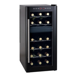 Dual-Zone Thermo-Electric Wine Cooler with Heating, 18-Bottle