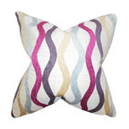 """The Pillow Collection - Narain Geometric Pillow Purple 18"""" x 18"""" - Turn your home into a modern space with this lovely decor pillow. This accent piece is a definite stand out with its unique geometric pattern in shades of yellow, blue, pink, purple and white. Accentuate your sofa, bed or seat with a few pieces of this toss pillow. Crafted in the USA."""