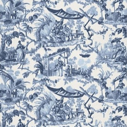 Schumacher - Pavillon Chinois Fabric, Lapis - 2 Yard minimum order