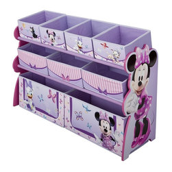 Minnie Mouse Multi Bin Toy Organizer - This sturdy and well-made Disney Minnie Mouse 9-bin toy organizer helps keep all the toys, books and other belongings neatly arranged in one place.