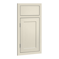 CliqStudios.com - Austin Off-White Linen Paint Shaker Kitchen Cabinet Sample - Austin features an inset slab drawer front paired with a solid hardwood framed inset door and a crisp, detailed recessed panel. The fresh, clean lines and simple recessed panel of Austin blend contemporary and shaker styling to complement any d�cor. The CliqStudios Austin door pairs perfectly with stainless appliances, nickel finish hardware, glass subway tile backsplash, modern bar stools, hardwood floors and granite countertops.  Austin works equally well in an open concept kitchen, galley kitchen, u-shaped kitchen, kitchen island, kitchen peninsula or in a nearby kitchen desk or window seat. Consider coordinating with a variety of recessed lighting, undercabinet task lighting, pendant lighting and other decorative accents.